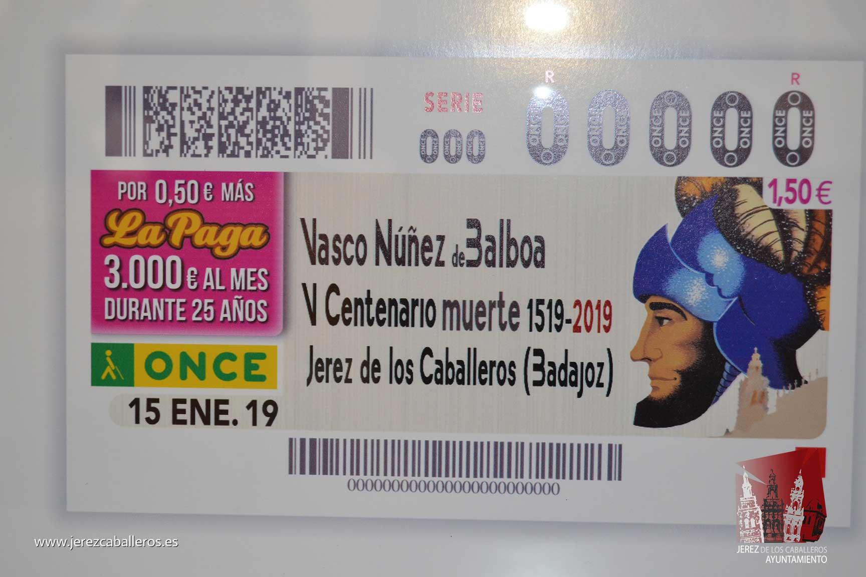 El Cupón de la ONCE del próximo 15 de enero recordará el 500 aniversario del fallecimiento de Vasco Núñez de Balboa